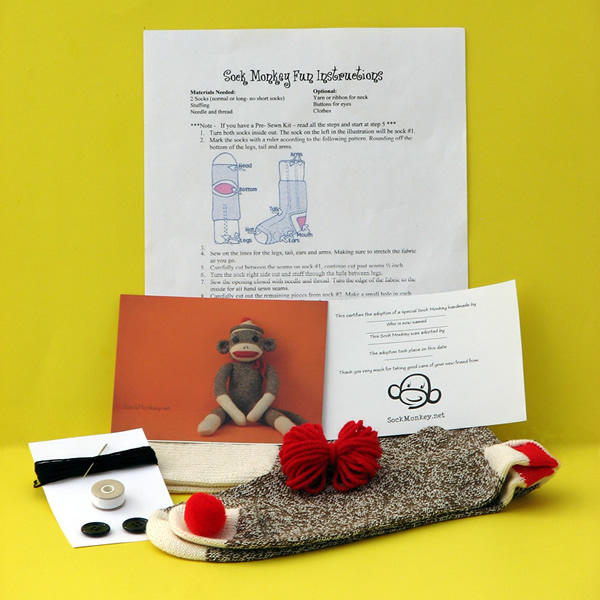 Sock monkey kits only 13 sock monkey budget sock monkey kit do it yourself solutioingenieria Image collections